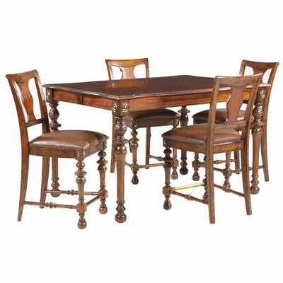 Baroque Style High Top Dining Table and Four Chairs, 21st Century