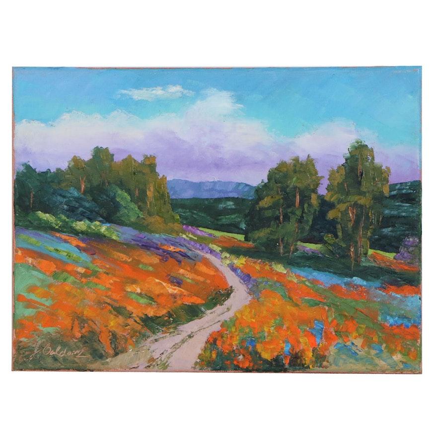 "James Baldoumas Oil Painting ""Blooming Hillside"", 2020"