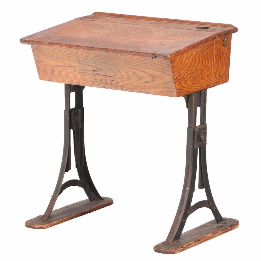 "Heywood ""Eclipse"" Oak & Iron Lift-Lid School Desk, Late 19th/Early 20th Century"