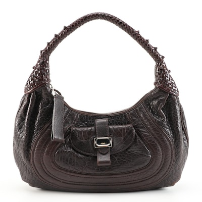 Fendi Spy Hobo Bag in Brown Nappa Leather