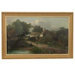 J. Anderton Oil Painting of Country Road, 1880