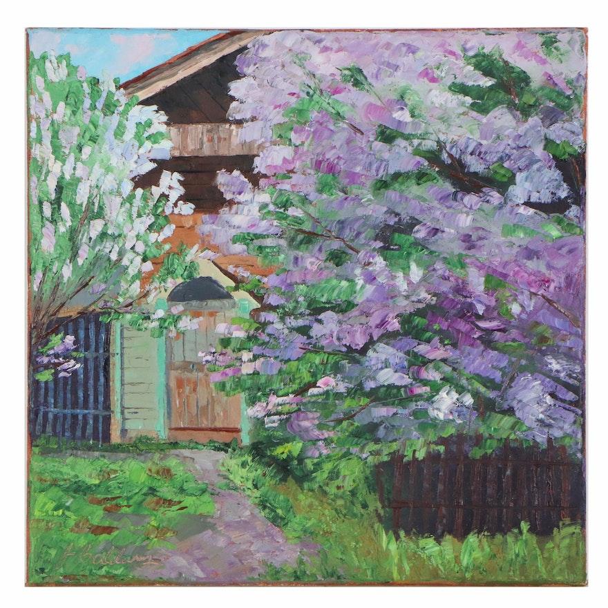 "James Baldoumas Oil Painting ""Lilacs in Bloom"", 2020"