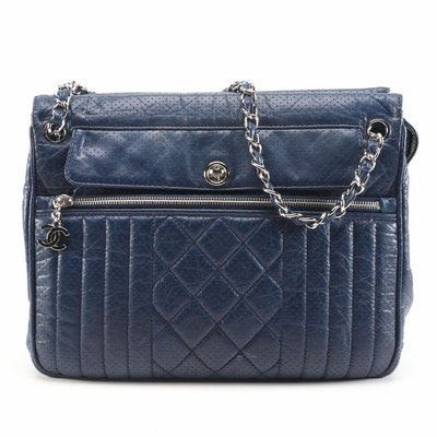 Chanel Navy Perforated Calfskin Expandable Tote with Classic Chain Leather Strap