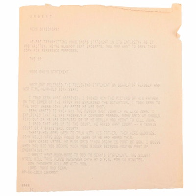 Yoko Ono Teletype to the Associated Press on John Lennon's Death