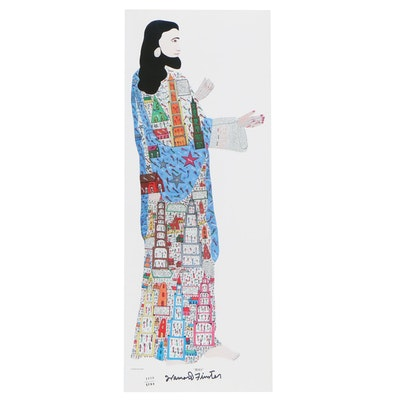 "Howard Finster Offset Lithograph ""Jesus"""