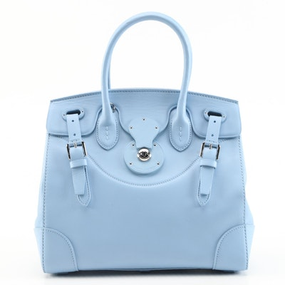 Ralph Lauren Pale Blue Leather Two-Way Satchel