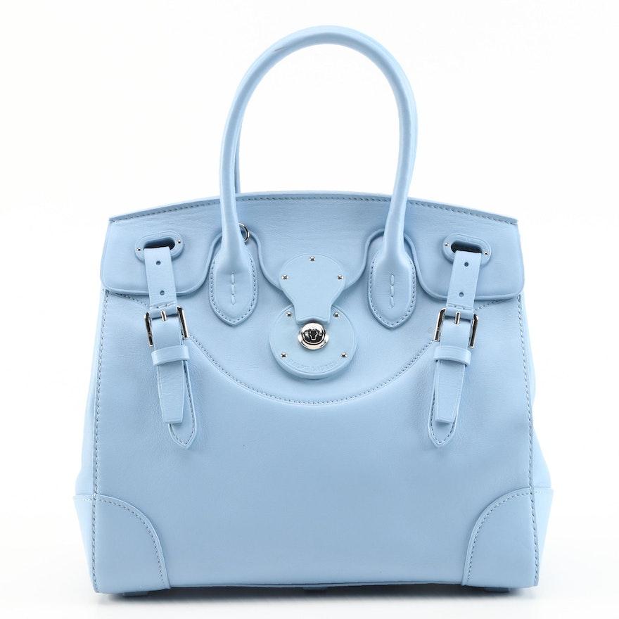 Ralph Lauren Pale Blue Leather Two-Way Satchel