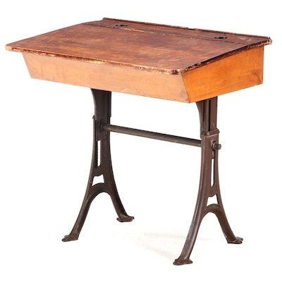 Maple and Iron Lift-Lid School Desk, Late 19th/Early 20th Century