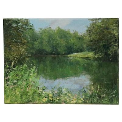 "Garncarek Aleksander Landscape Oil Painting ""Pond"", 2020"