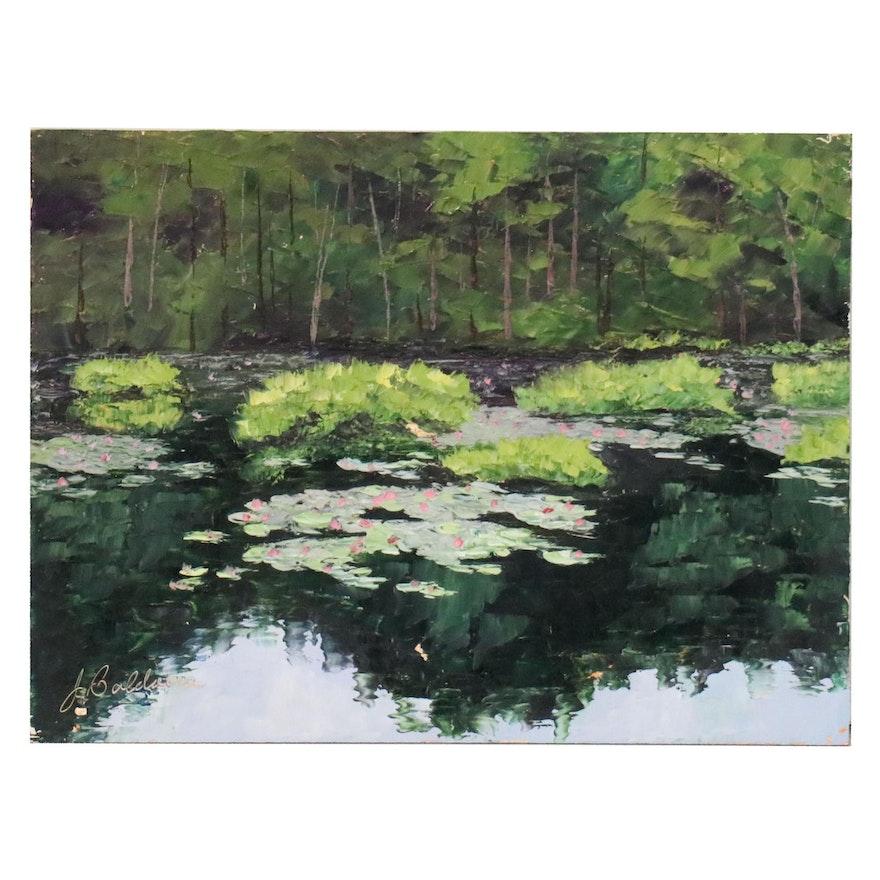 """James Baldoumas Oil Painting """"Pond View"""", 2020"""