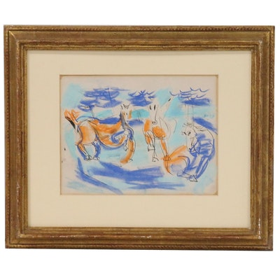 Abstract Ink and Pastel Drawing of Horses, Late 20th Century
