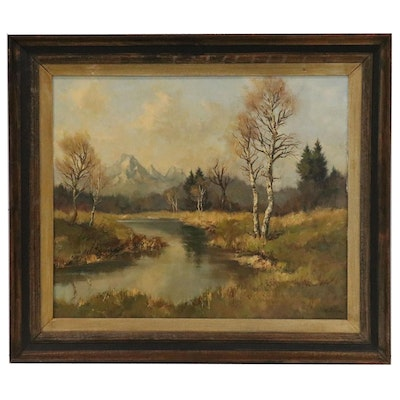 Riverside Landscape Oil Painting with Birch Trees, Mid 20th Century