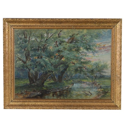 William Savery Bucklin Gouache Painting of River, Early 20th Century