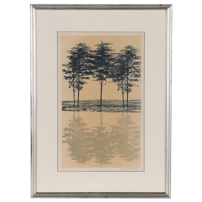 Jean Picart Le Doux Lithograph of Reflecting Trees, Late 20th Century