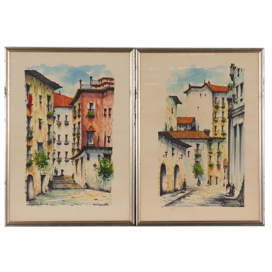 "Streetscape Mixed Media Paintings ""Madrid, Calle del Conde"", 1970"