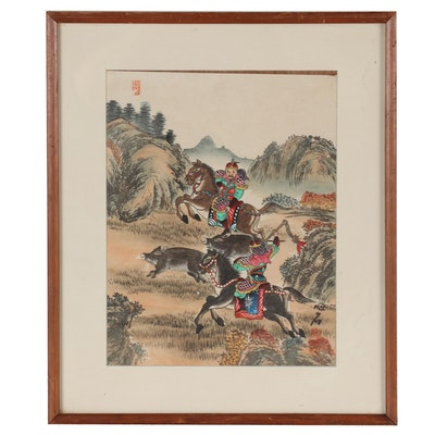 East Asian Style Hand-Colored Woodblock of Boar Hunt, Early 20th Century