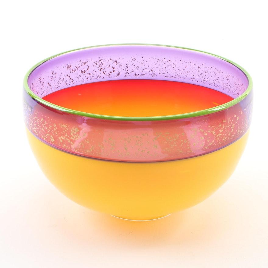 Virtu Studio of Greenbrier Polychrome and Bubble Art Glass Bowl, 2017