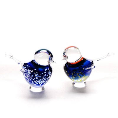 Jaroš Glass Works Hand-Shaped Glass Bird Paperweights