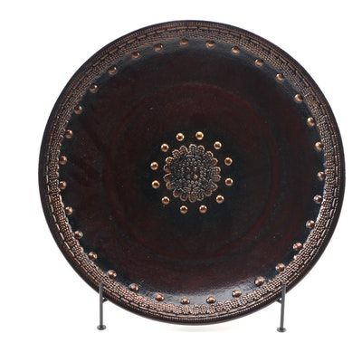 Pier 1 Embellished Ceramic Display Plate with Metal Stand