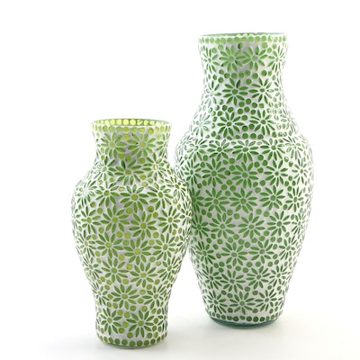 Pair of Embellished Floral Motif Green Glass Vases
