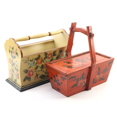 Rosemaling Style Hand Painted Magazine Holder and Storage Box