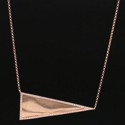 14K Rose Diamond Obtuse Triangle Necklace