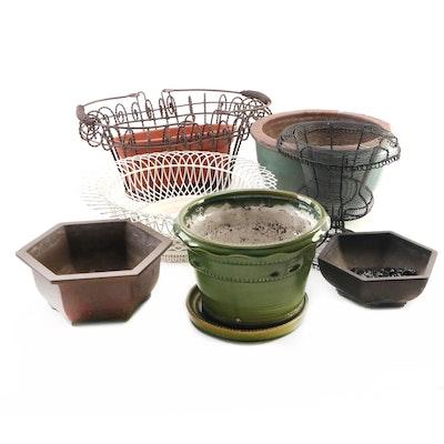 Decorative Terracotta, Ceramic and Wire Jardinieres