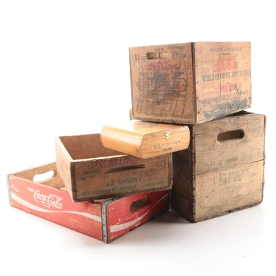 Remington, Coca-Cola, and Canada Dry Wooden Crates, Mid-20th Century