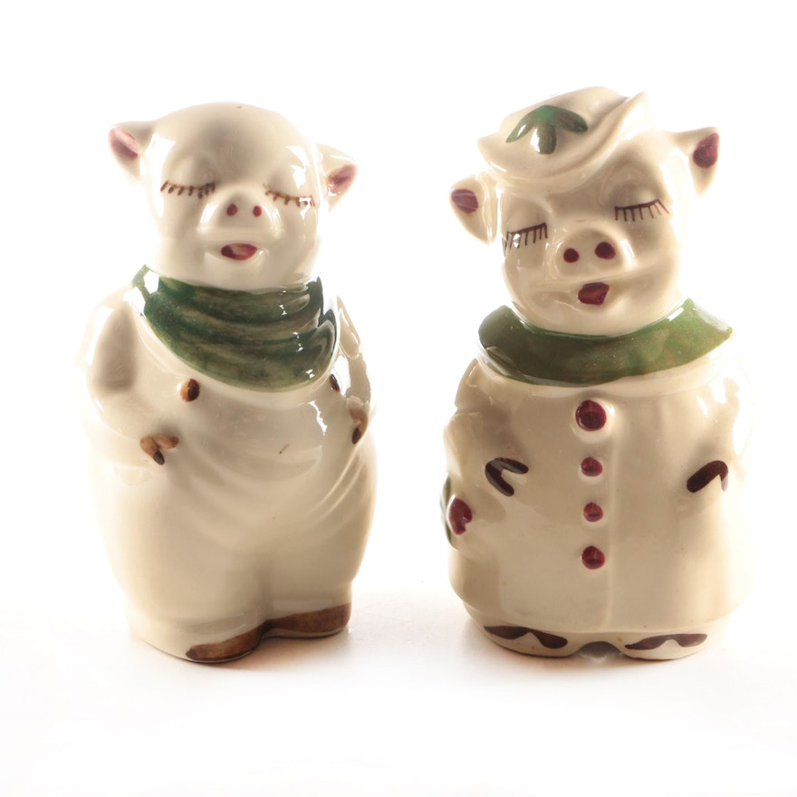 "Shawnee Pottery Co. ""Smiley Pig"" and ""Winnie Pig"" Ceramic Shakers, Mid-20th C."