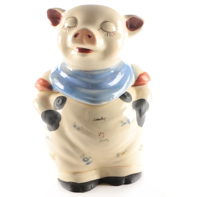 "Shawnee Pottery Co. ""Smiley Pig"" Ceramic Cookie Jar, 1940s"