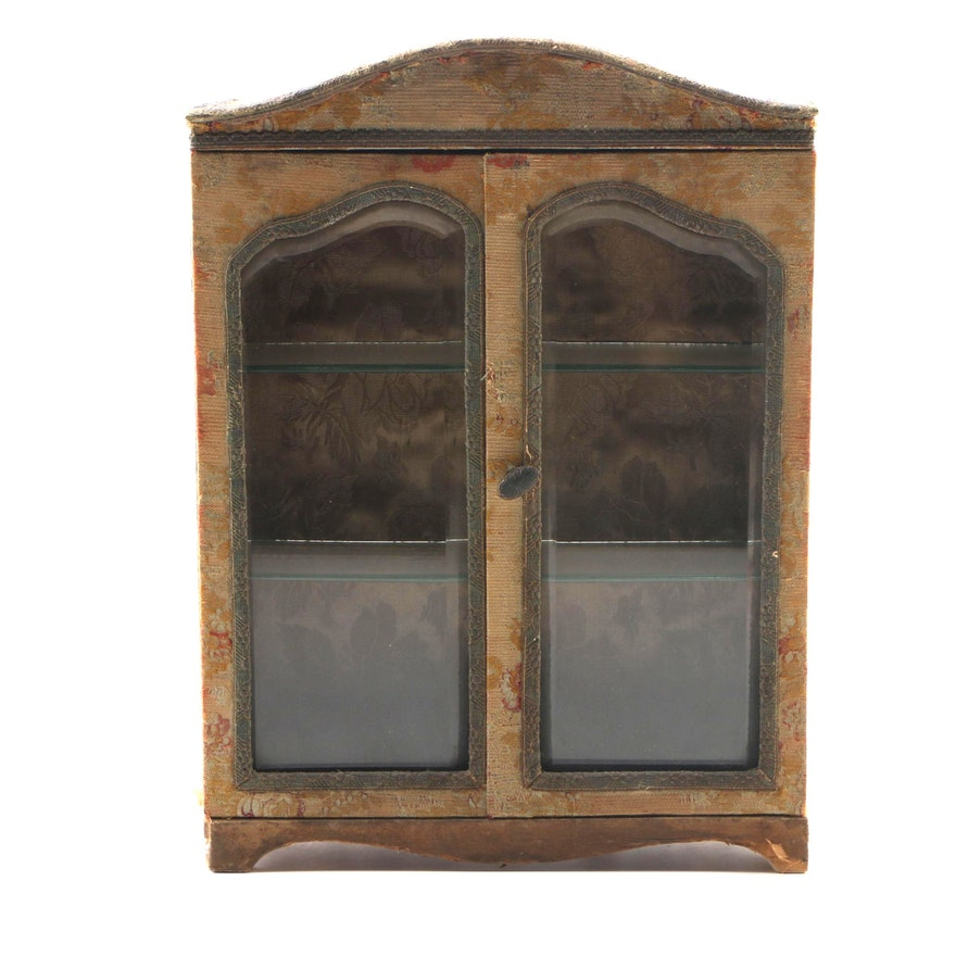 Brocade Covered Wood Wall Cabinet with Beveled Glass Doors, Late 19th Century