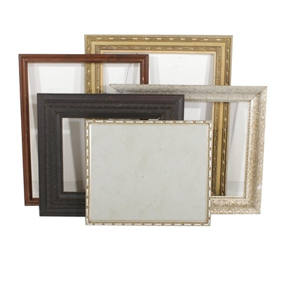 Painted Wood and Gesso Decorated Frames with Wall Mirror, Early to Mid 20th C.