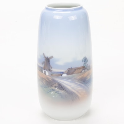 Lyngby Porcelain Hand-Painted Vase with Copenhagen Landscape, Late 20th Century