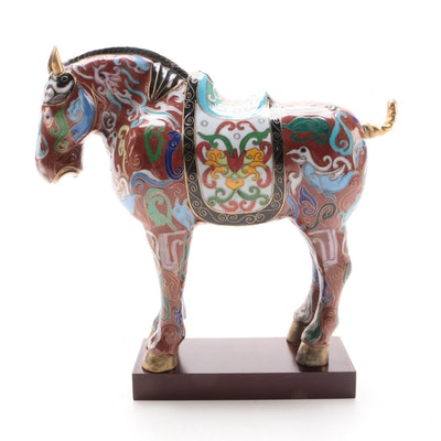 Chinese Cloisonné Tang Style War Horse Figurine, Late 20th Century