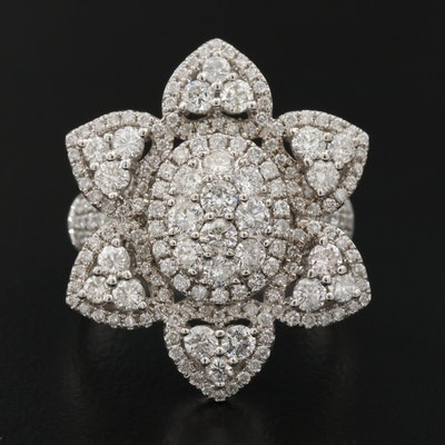 14K 4.89 CTW Diamond Floral Ring