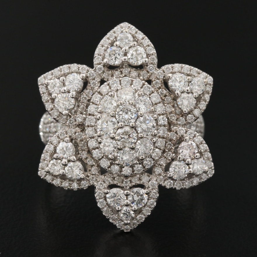14K 4.89 CTW Diamond Floral Ring