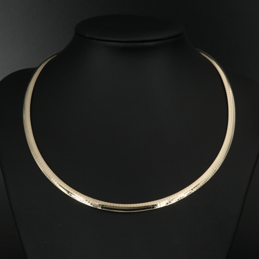 Sterling Reversible Omega Necklace