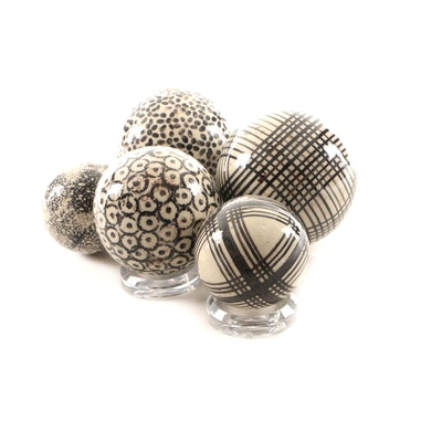 Decorative Ceramic Spheres with Geometric Patterns