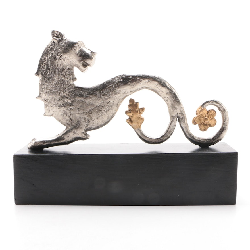 Mythical Lion Figurine on Painted Wooden Base, Contemporary