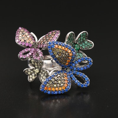 Sterling Silver Sapphire, Spinel and Cubic Zirconia Butterfly Ring