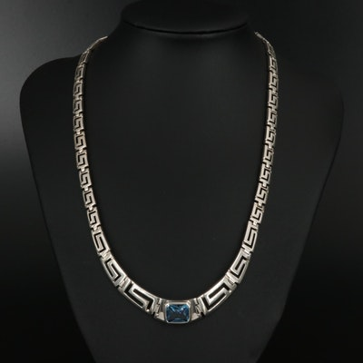 Sterling Spinel Necklace with Greek Key Motif