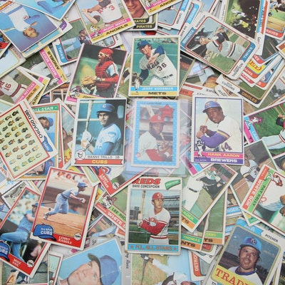 1970's Baseball Trading Cards Including Hank Aaron, Lou Brock and more