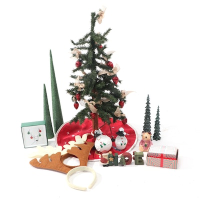 Holiday Décor Including Small Artificial Christmas Tree and Card Game
