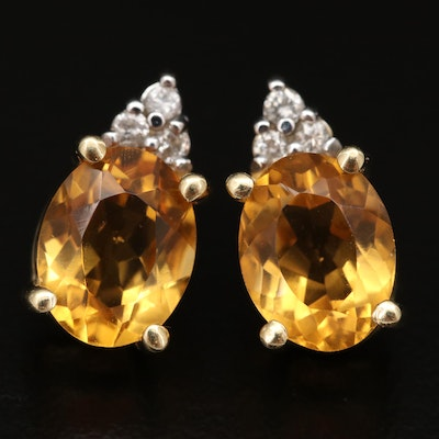 14K Citrine and Diamond Stud Earrings