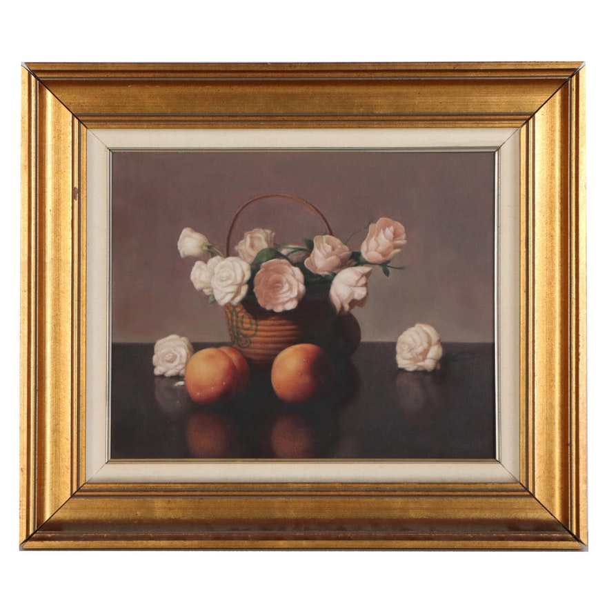 Al Jackson Still Life Oil Painting of Flowers and Peaches, Late 20th Century
