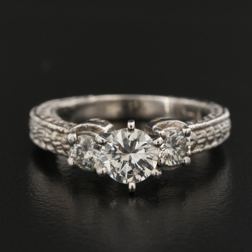 14K 1.01 CTW Diamond Ring with Engraved Texture and Platinum Head