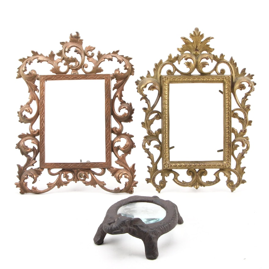 Rococo Style Brass Picture Frames with Cast Iron Elephant Desk Magnifier