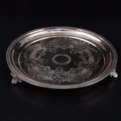 Silver Plate Salver with Engraved Meandros Pattern, Early to Mid 20th Century