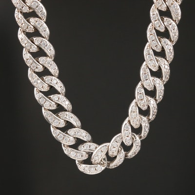 Sterling Silver Cubic Zirconia Curb Chain Necklace