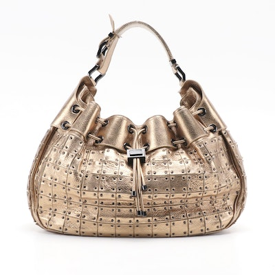 Burberry Metallic Gold Leather Warrior Bag with Black Hardware Accents